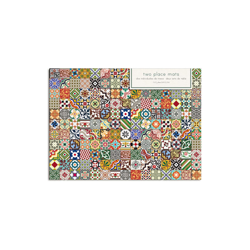 SET OF 2 HYDRAULIC TILES PLACE MAT AND COASTERS
