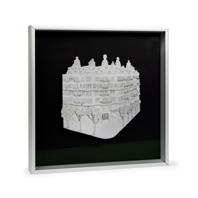 FRAMED LA PEDRERA ENGRAVING BY FIDEL ROCA